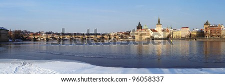 Panoramic Prague Charles Bridge in winter with snow