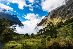Panoramic Road leading to Milfordsound on the South Island of New Zealand