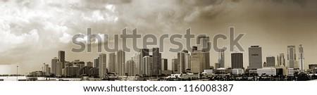 Panoramic scene of Miami city center - stock photo
