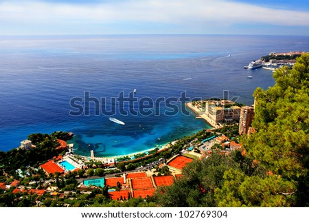 Panoramic scene of Monaco and riviera with blue sea