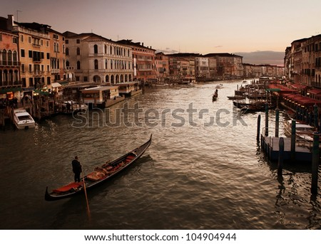 panoramic scene of Venice at the sunset