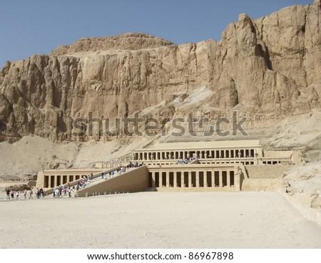 panoramic scenery of Deir el-Bahri in Egypt