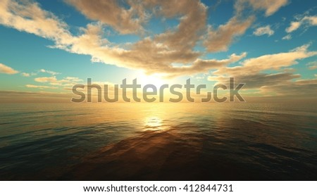 Panoramic sea sunset, ocean sunrise, the light above the water, 3D rendering. #412844731
