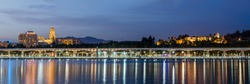 Panoramic second dock of the port of Malaga and  the Cathedral, the Alcazaba and the Malaga Palace.