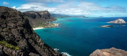 Panoramic shot from the top of the lighthouse trail of Oahu, Hawaii.