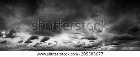 panoramic shot of a moody sky of rain clouds