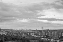 Panoramic shot of a residential neighborhood in Belgrade, Serbia, with numerous buildings from the socialist era, black and white