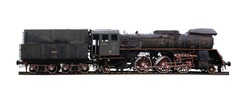Panoramic shot of an old abandoned, rusty locomotive isolated on white background