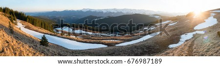 Panoramic shot of beautiful mountains view hiking travelling active recreation concept