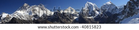 Panoramic shot of Everest from the Renjo pass Nepal