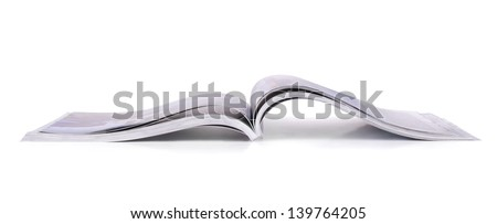 Panoramic shot of open magazine isolated on white