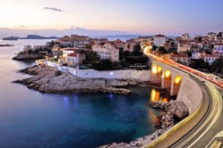 Panoramic shot of the famous Anse de la Fausse Monnaie landmark with Anse of Malmousque in Marseille