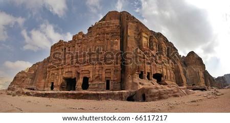 Panoramic shot of the Royal Tombs in Petra, Jordan.
