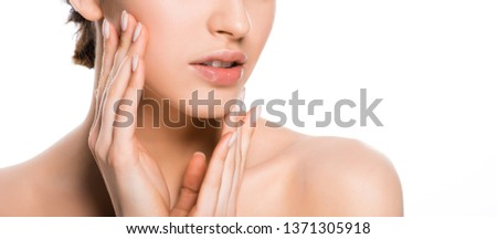 panoramic shot of young woman touching face isolated on white  #1371305918