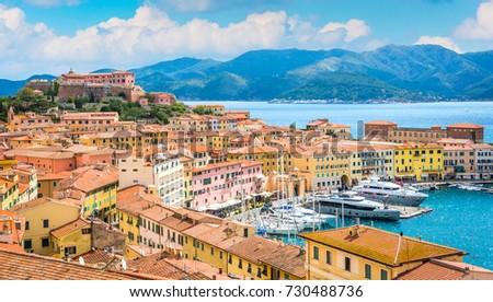 Panoramic sight of Portoferraio in Elba Island, Tuscany, Italy. Foto stock ©