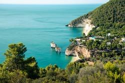 Panoramic sight of the famous Baia delle Zagare in the Gargano national park. Apulia (Puglia), Italy.