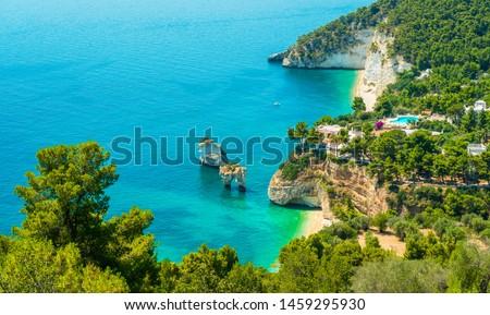 Panoramic sight of the famous Baia delle Zagare in the Gargano national park. Apulia (Puglia), Italy. ストックフォト ©