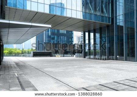 Panoramic skyline and buildings with empty concrete square floor,chongqing,china