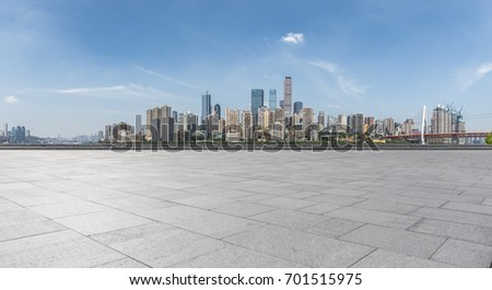 Panoramic skyline and buildings with empty concrete square floor chongqing city china