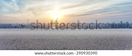 Panoramic skyline and buildings with empty road #290930390