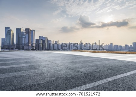 Panoramic skyline and buildings with empty road chongqing city china