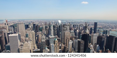 Panoramic skyline of Manhattan in New York City, United States