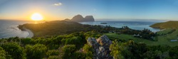 Panoramic spring sunrise from from Pooles Lookout on the Malabar Track, Lord Howe Island, NSW, Australia
