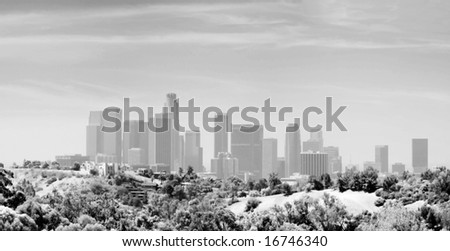 Panoramic Stitch Black And White Infrared Of Los Angeles Downtown Air Pollution Skyline