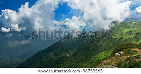 Panoramic stitch of Caucasus mountains in Russia