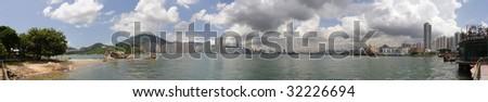 Panoramic Stitch: Victoria Harbor Of Hong Kong China