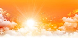 Panoramic sunrise. High resolution orange sky background. Sun and birds breaking through white clouds