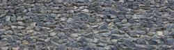 Panoramic texture of gray stonewall