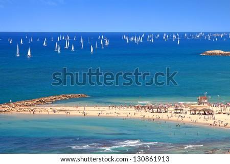 Panoramic top view of Tel-Aviv beach and yachting (Mediterranean sea. Israel)
