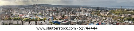 Panoramic, ultra wide, image of Edinburgh, capital of Scotland, UK with tourist attraction Edinbugh Castle