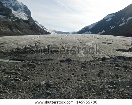 Panoramic view along Athabasca Glacier on Icefields Parkway, Alberta, Canada