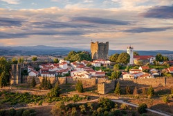 Panoramic view, astonishing sunset in the medieval citadel (Cidadela) of Bragança, Trás-os-Montes, Portugal