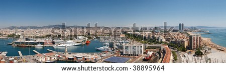 Panoramic View at Harbor, Beach and City of Barcelona, Spain.