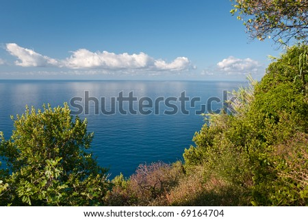 Panoramic view at the clouds over the sea