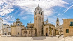 Panoramic view at the Complex building of Cathedral in Lugo, Spain