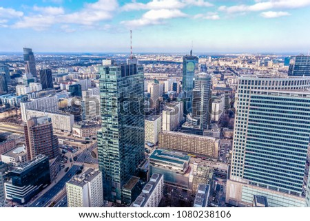 Panoramic view at the modern architecture buildings in the city center of Warsaw, Poland.  #1080238106