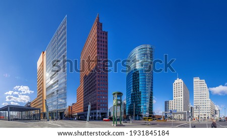 panoramic view at the potsdamer platz under a blue sky Stock foto ©