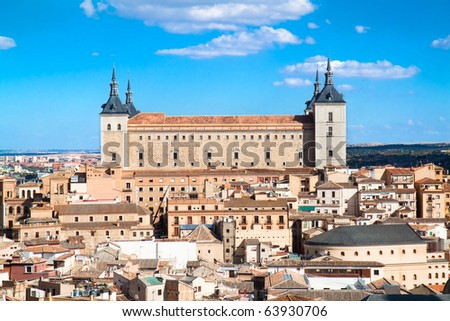 Panoramic view at Toledo and Alcazar fortified palace, Spain