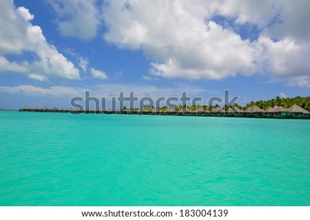 panoramic view at waterbungalows at bora bora island, french polynesia #183004139