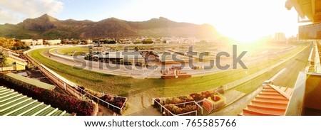 Panoramic view Champ de Mars Hippodrome Mauritius Port-louis Sunset   Stock photo ©