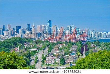 Panoramic view city of Vancouver. Downtown and  Port terminal.