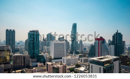 Panoramic view Cityscape business district from aerial view high building  (Bangkok, Thailand)  #1226053831