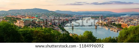 Panoramic view from above on landmarks of Budapest at summer sunset, Hungary