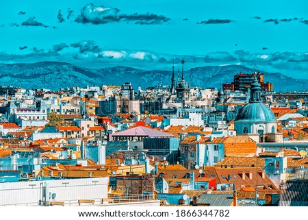 Panoramic view from above on the capital of Spain- the city of Madrid. One of the most beautiful cities in the world. Сток-фото ©