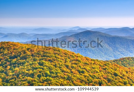 Panoramic view from Brasstown Bald,  the highest natural point in the state of Georgia, USA, with a summit elevation of 4,784 feet (1,458 m) above mean sea level.