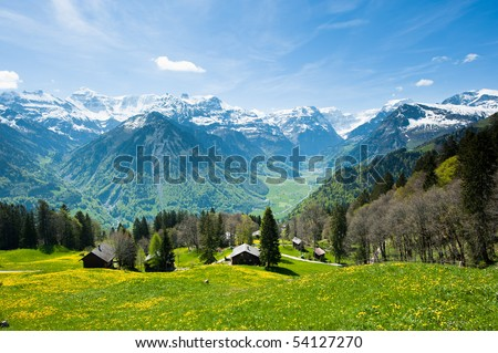Panoramic view from Braunwald in Spring, Glarus, Switzerland